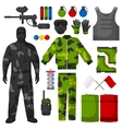paintball icons set equipment vector image vector image