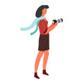 photo camera isolated female character vector image vector image