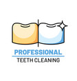 professional teeth cleaning isolated logo vector image vector image