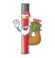 santa with gift lip gloss above cartoon makeup vector image vector image