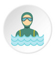 scuba diver man in diving suit icon circle vector image vector image