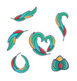 set abstract design with color feathers vector image vector image