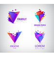 set of origami 3d men men logos family vector image vector image