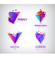 set origami 3d men men logos family vector image vector image