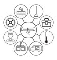 sketch contour icons plumbing connected to center vector image vector image