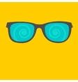 Sunglasses with spiral glasses Flat design style vector image