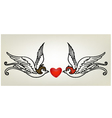 tattoo swallow heart vector image
