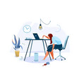 tired female office worker sitting on chair vector image