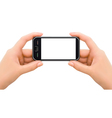 Two hands holding mobile smart phone vector image vector image