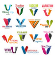 v letter corporate identity business icons vector image vector image