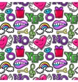 Seamless pattern with fashion patch badges wings vector image