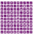 100 sales icons set grunge purple vector image vector image