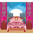 a beautiful girl sleeping in bedroom vector image vector image