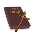 A brown holy bible with a wooden cross vector | Price: 1 Credit (USD $1)