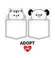 adopt me red heart cute cat dog in pocket vector image vector image