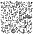 autumn doodle black and white background vector image