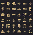 aviation icons set simple style vector image