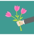 Businessman hand holding bouquet of pink tulip vector image