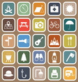 Camping flat icons on brown background vector image vector image