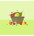 Card with fruits in flat style vector image vector image