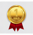 champion art golden medal with red ribbon l icon vector image