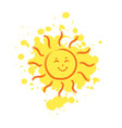 cheerful smiling sun with paint drops on vector image vector image