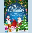 christmas elf santa and snowman with gifts vector image vector image