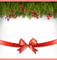 Christmas holiday decoration with red gift bow vector image