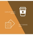 Coffee and cookie icon on brown background vector image vector image