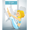 cute blond girl in a yoga pose meru danda asana vector image vector image