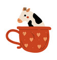 cute cow in teacup adorable little calf animal vector image