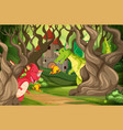 dragons in castle wood scene vector image vector image
