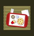 fast food in the flat style tray with soda vector image vector image