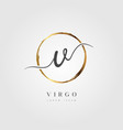 gold elegant initial letter type v vector image vector image