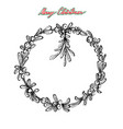 hand drawn of christmas wreath of mistletoes vector image