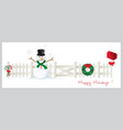 happy holiday christmas fence banner vector image vector image