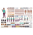 hipster guy animation kit african american man vector image