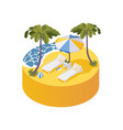 holidays on sea concept scene for two sunbeds vector image vector image