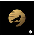 howling wolf with golden moon logo design vector image vector image