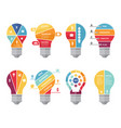 infographic concepts with shape of lighting bulb vector image vector image