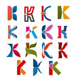 k letter icons template company brand name vector image