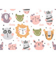 nursery animals pattern vector image vector image