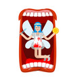 open mouth and tooth fairy coin exchange for tooth vector image vector image
