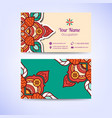 ornamental floral business cards or invitation vector image