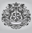 ornate shield design vector image vector image