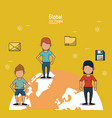 poster of global people with yellow background vector image vector image