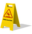 Precaucion caution two panel yellow sign vector image vector image