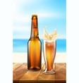 realistic beer bottle splashing from glass vector image