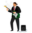 rock guitarist man playing musical guitar vector image vector image