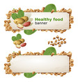 set banners with peanut and ground nuts vector image vector image